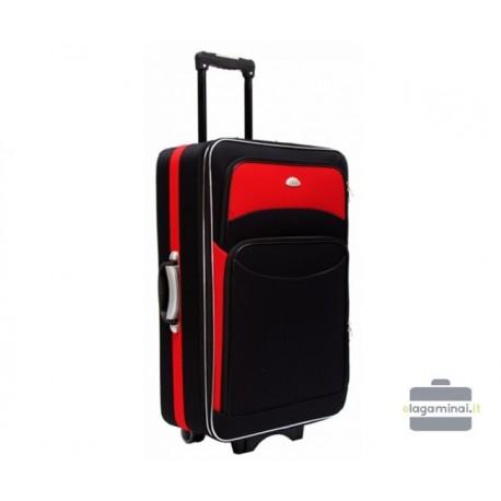 Didelis medžiaginis lagaminas Deli 101-D Juodas/raudonas