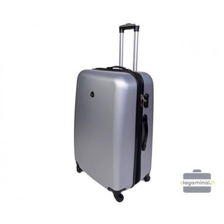 Vidutinis plastikinis lagaminas Gravitt 866-V Sidabro spalva