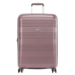 Vidutinis plastikinis lagaminas Travelite Zenit V Tamsiai rožinis