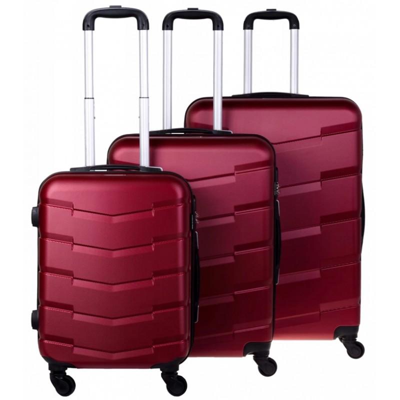 Vidutinis plastikinis lagaminas Bagia 8090-V Tamsiai raudonas