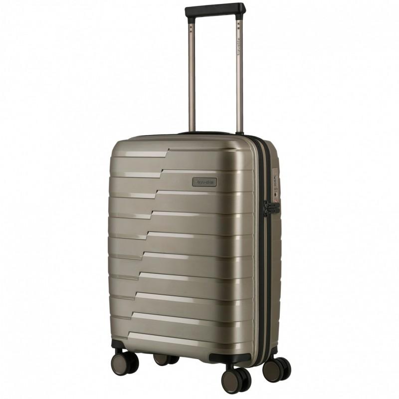 Mažas plastikinis lagaminas Travelite Air Base M Šampano spalva