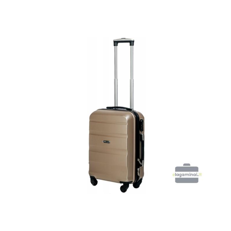 Mažas plastikinis lagaminas Gravitt Travel 710-M Šampano spalva