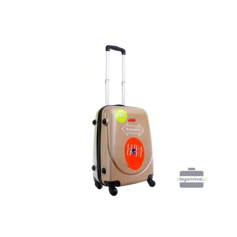 Mažas plastikinis lagaminas Gravitt 310-M Šampaninis