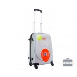 Mažas plastikinis lagaminas Gravitt 310-M Sidabro spalva