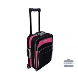 Mažas medžiaginis lagaminas Deli 101-M Juodas/rožinis