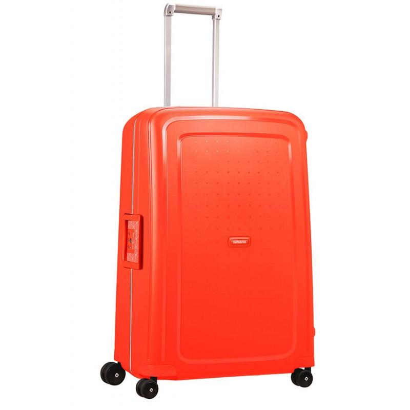 Didelis plastikinis lagaminas Samsonite S-Cure D Raudonas (Fluo Red Capri)