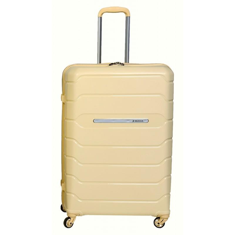 Didelis plastikinis lagaminas Burak PQ-D Smėlio spalva