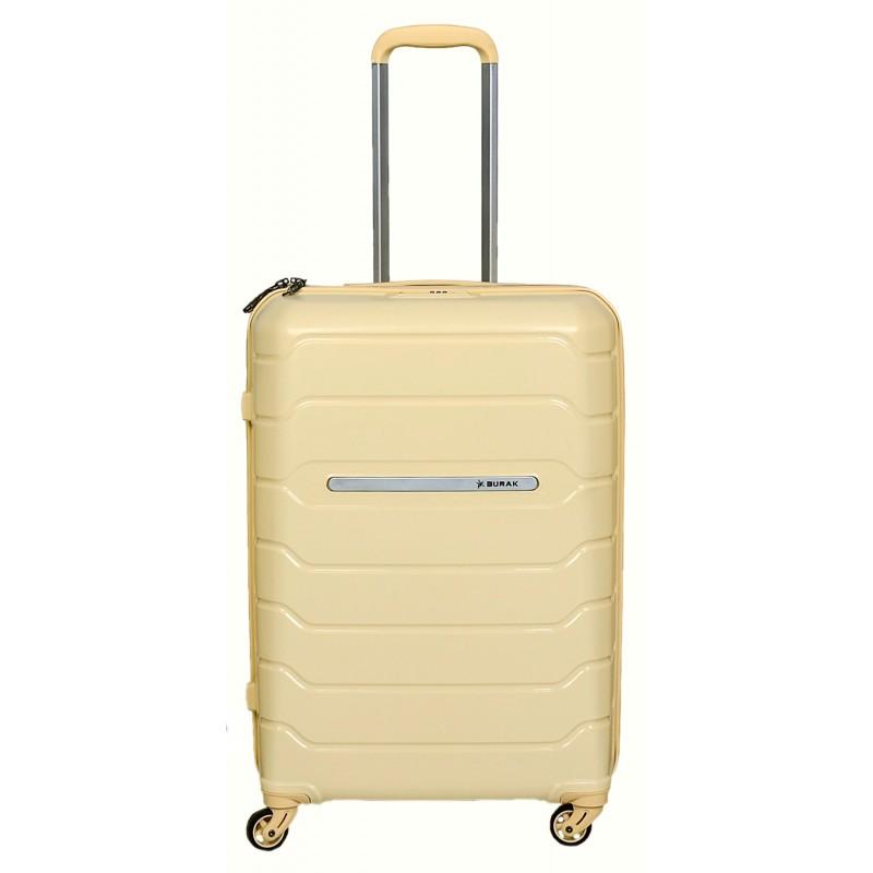 Vidutinis plastikinis lagaminas Burak PQ-V Smėlio spalva