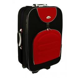 Didelis medžiaginis lagaminas Suitcase 801-D Juodas/raudonas