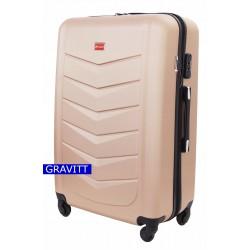 Didelis plastikinis lagaminas Gravitt Travel 602-D Šampano spalva