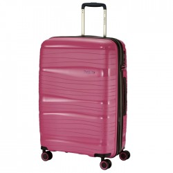 Vidutinis plastikinis lagaminas Travelite Motion V Rožinis
