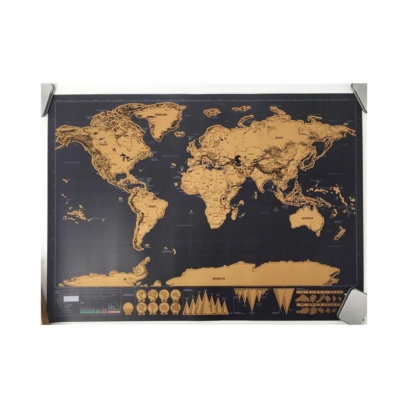 Didelis nutrinamas pasaulio žemėlapis (82x59 cm)
