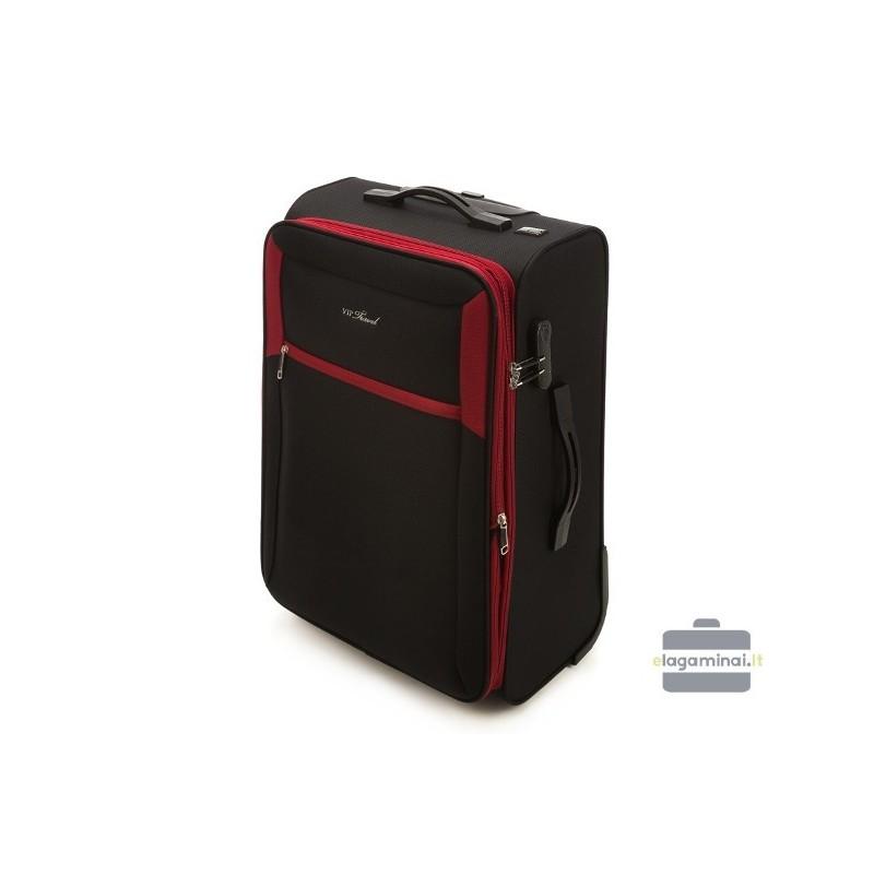 Didelis medžiaginis lagaminas Vip Travel V25-3S-233 Juodas/raudonas