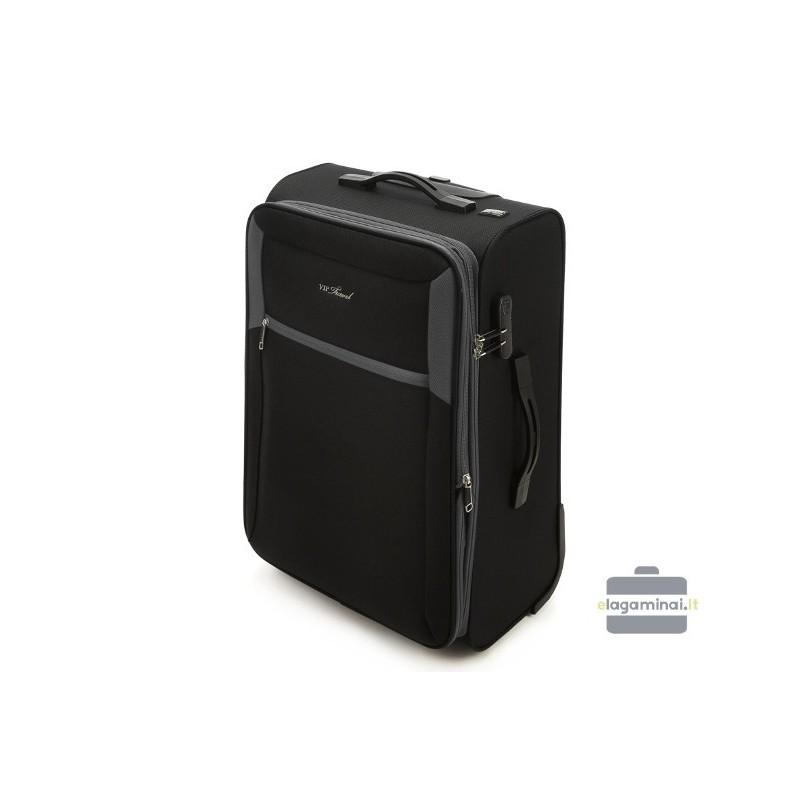 Didelis medžiaginis lagaminas Vip Travel V25-3S-233 Juodas/pilkas