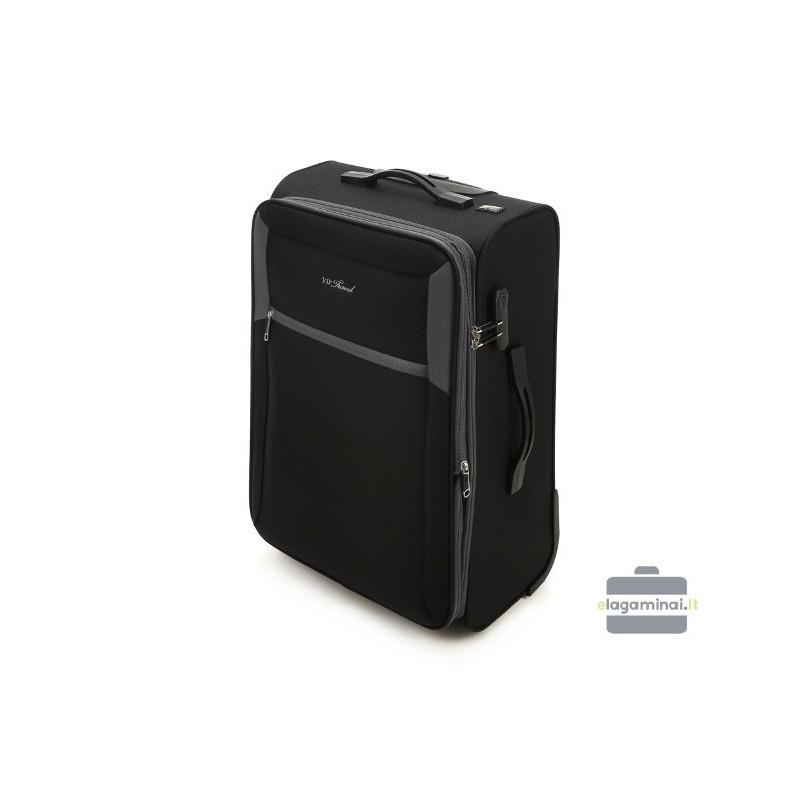 Vidutinis medžiaginis lagaminas Vip Travel V25-3S-232 Juodas/pilkas