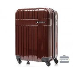 Didelis plastikinis lagaminas Swissbags Compass-D Bordo spalva