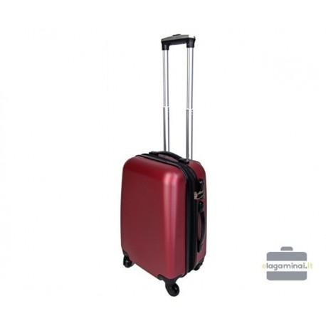 Mažas plastikinis lagaminas Szyk 866-M Tamsiai raudonas