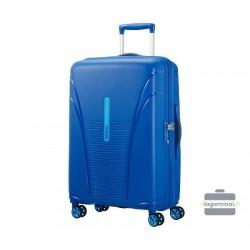Vidutinis plastikinis lagaminas American Tourister Skytracer V Mėlynas