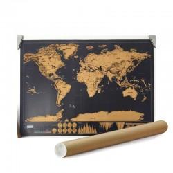 Didelis nutrinamas pasaulio žemėlapis su kartoniniu dėklu