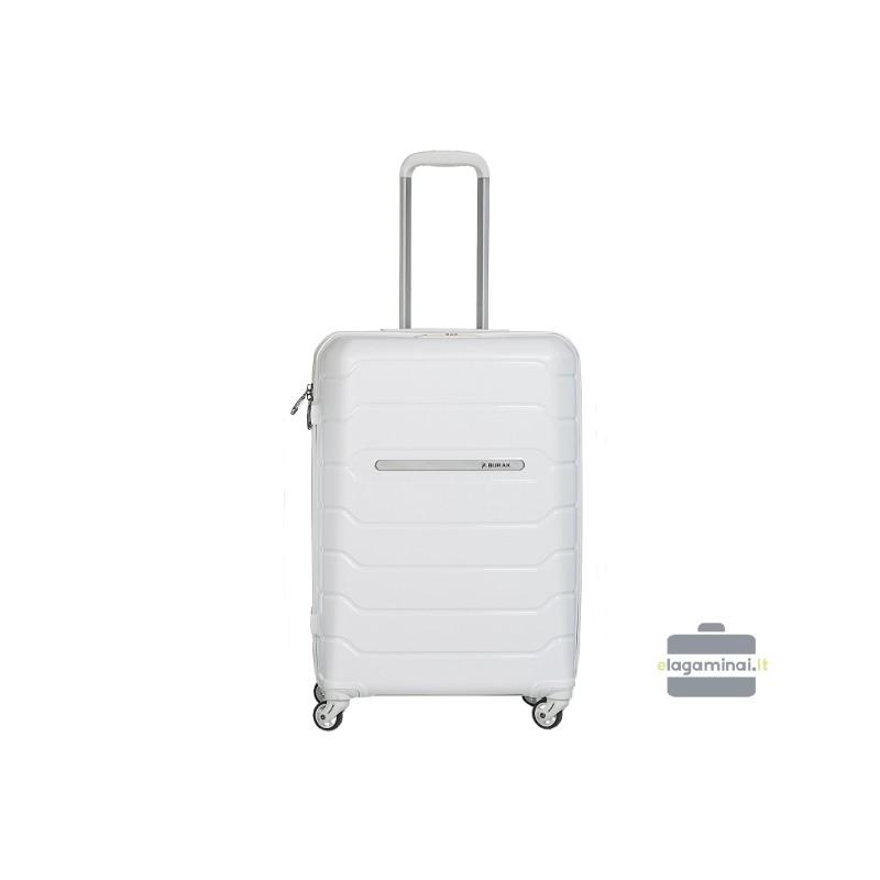 Vidutinis plastikinis lagaminas Burak PQ-V Baltas