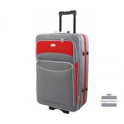 Didelis medžiaginis lagaminas Deli 101-D Pilkas/raudonas