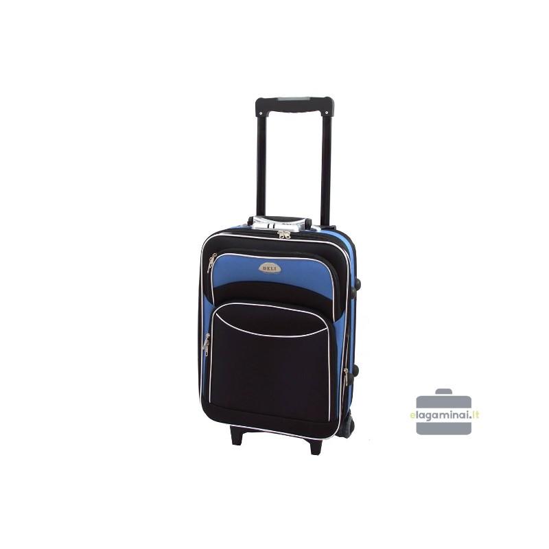 Mažas medžiaginis lagaminas Deli 101-M Juodas/šviesiai mėlynas