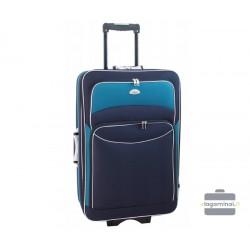Vidutinis medžiaginis lagaminas Deli 101-V Tamsiai mėlynas/žalias
