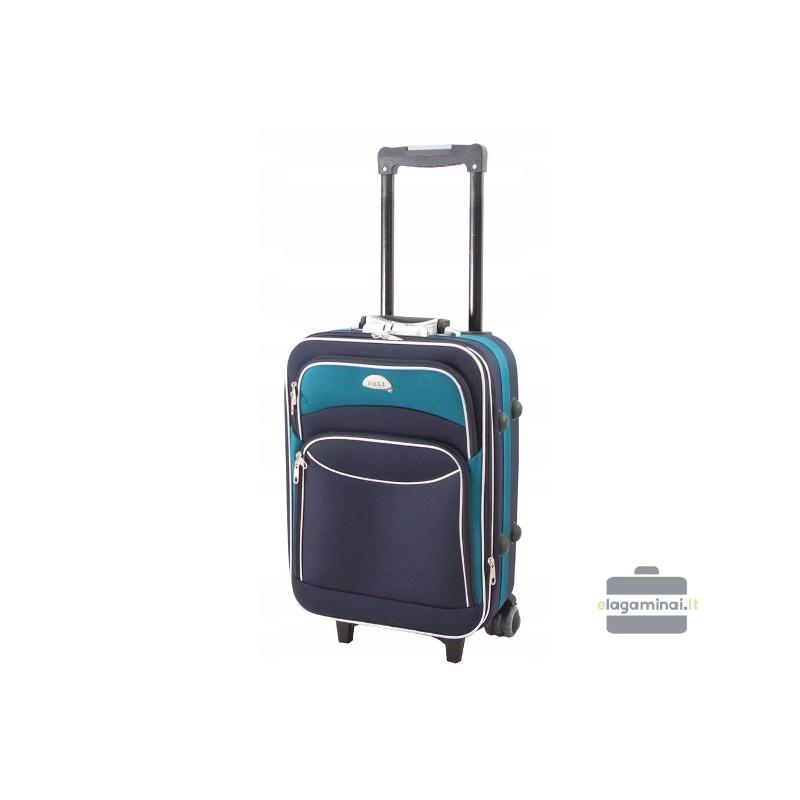Mažas medžiaginis lagaminas Deli 101-M Tamsiai mėlynas/žalias