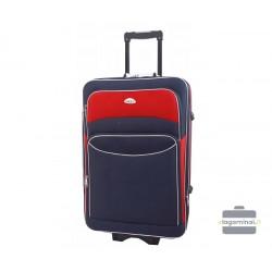 Vidutinis medžiaginis lagaminas Deli 101-V Tamsiai mėlynas/raudonas