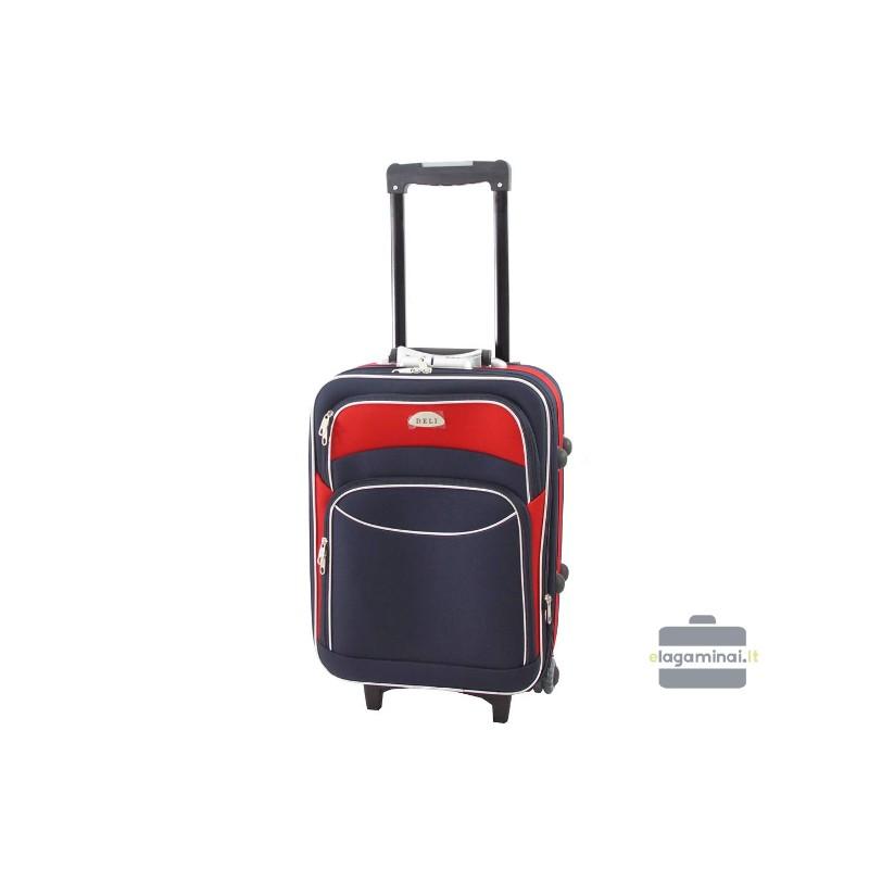 Mažas medžiaginis lagaminas Deli 101-M Tamsiai mėlynas/raudonas