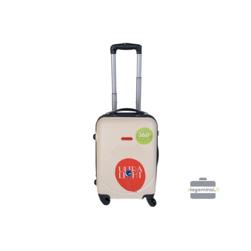 Mažas plastikinis lagaminas Gravitt 310-M Kreminė spalva