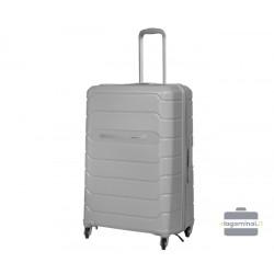 Vidutinis plastikinis lagaminas Burak PQ-V Pilkas