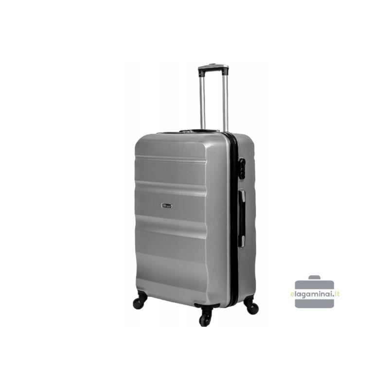Didelis plastikinis lagaminas Gravitt Travel 710-D Sidabro spalva