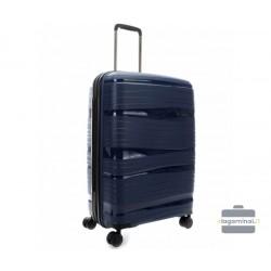 Vidutinis plastikinis lagaminas Travelite Motion V Tamsiai mėlynas