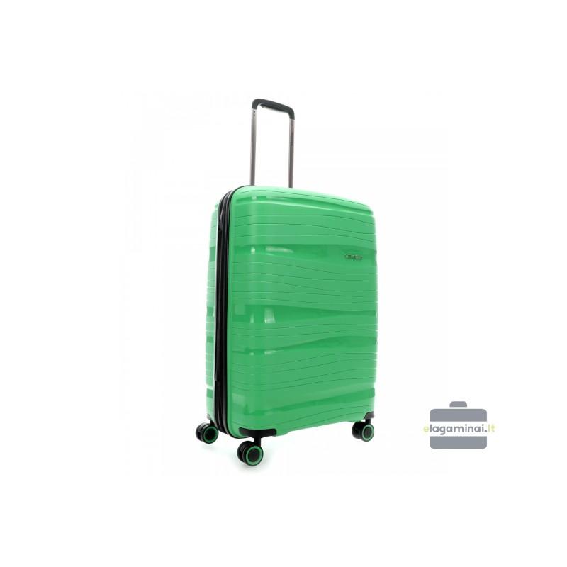 Vidutinis plastikinis lagaminas Travelite Motion V Žalias