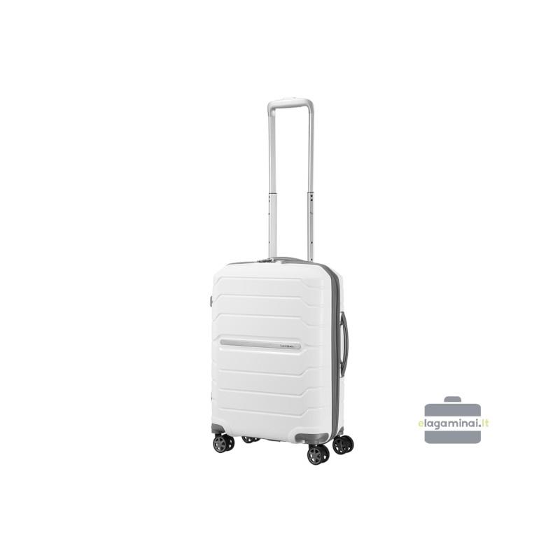 Mažas plastikinis lagaminas Samsonite Flux M Baltas