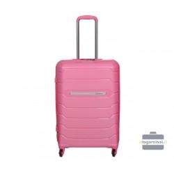 Vidutinis plastikinis lagaminas Burak PQ-V Rožinis