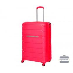 Vidutinis plastikinis lagaminas Burak PQ-V Tamsiai rožinis